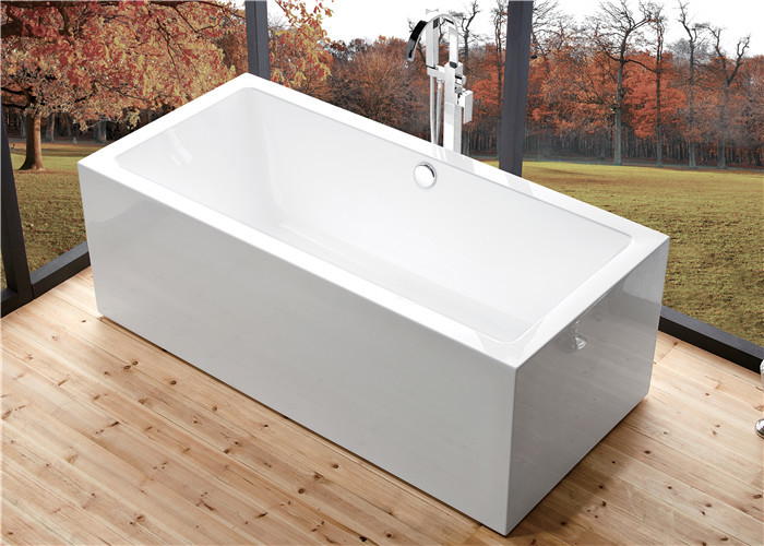 Wide 60 Inch Freestanding Bathtub , Rectangular Freestanding Tub With End Drain