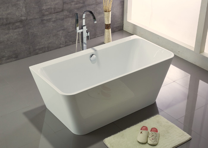 Acrylic Resin Square Freestanding Bathtub Contemporary Small Freestanding Bath 1500