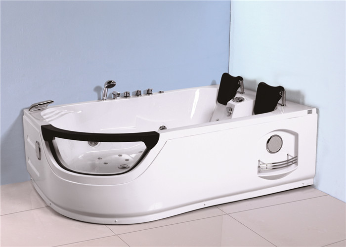 Durable Plastic Corner Whirlpool Bathtub Jacuzzi Shower Tub With PVC Pipe