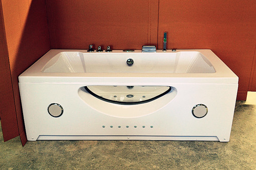 Double Jacuzzi Whirlpool Bath Tub Small Deep Soaking Tub Computer Control Ss Support