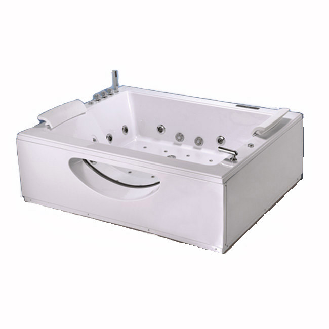 Rectangular Massage Bubble Jet Adult Jacuzzi Corner Whirlpool Tub / Two Person Whirlpool Bathtub